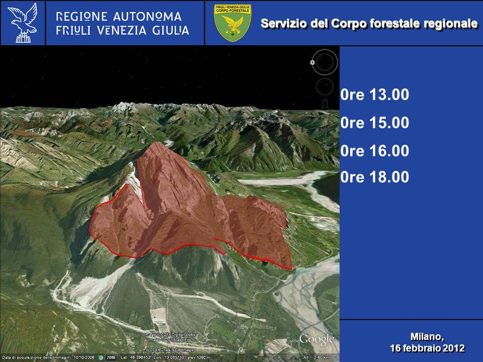 Servizio del Corpo forestale regionale Incendio boschivo Monte Amariana 2003 Incendio boschivo Monte Amariana 2003 Milano, 16 febbraio 2012 Milano, 16 febbraio 2012 0re 13.00 0re 15.00 0re 16.00 0re 18.00