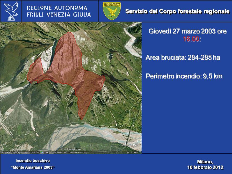 Servizio del Corpo forestale regionale Incendio boschivo Monte Amariana 2003 Incendio boschivo Monte Amariana 2003 Milano, 16 febbraio 2012 Milano, 16 febbraio 2012 Giovedì 27 marzo 2003 ore 16.00: Area bruciata: 284-285 ha Perimetro incendio: 9,5 km