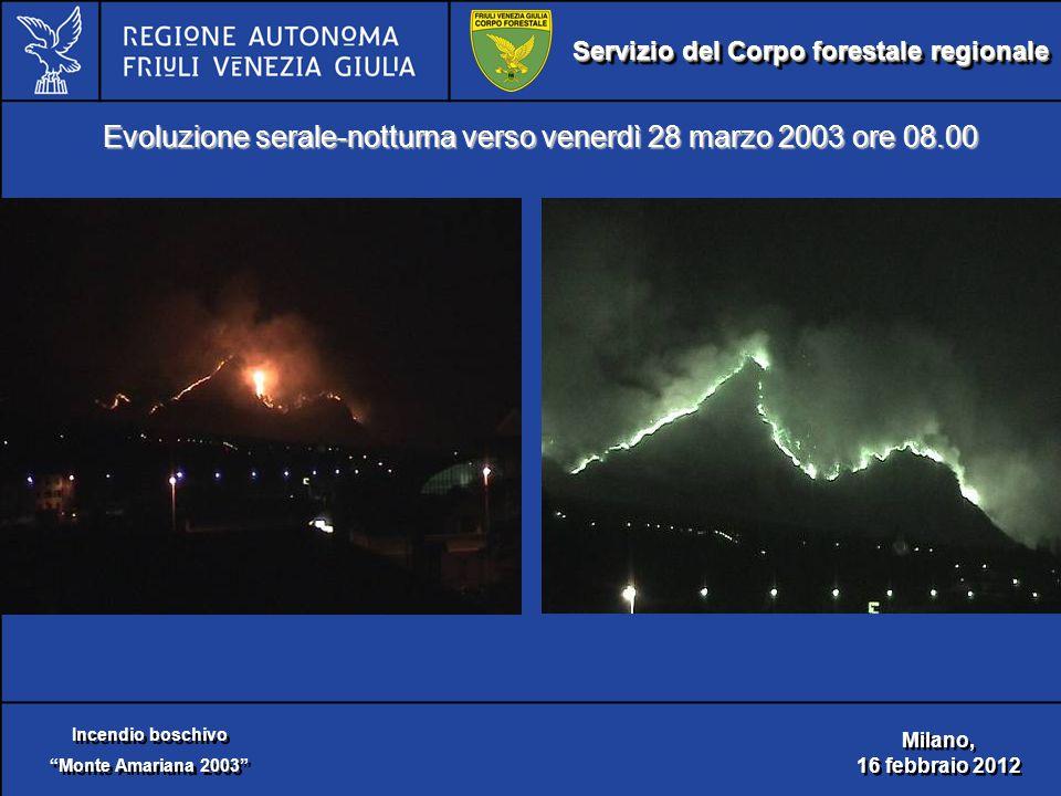 Servizio del Corpo forestale regionale Incendio boschivo Monte Amariana 2003 Incendio boschivo Monte Amariana 2003 Milano, 16 febbraio 2012 Milano, 16 febbraio 2012 Evoluzione serale-notturna verso venerdì 28 marzo 2003 ore 08.00