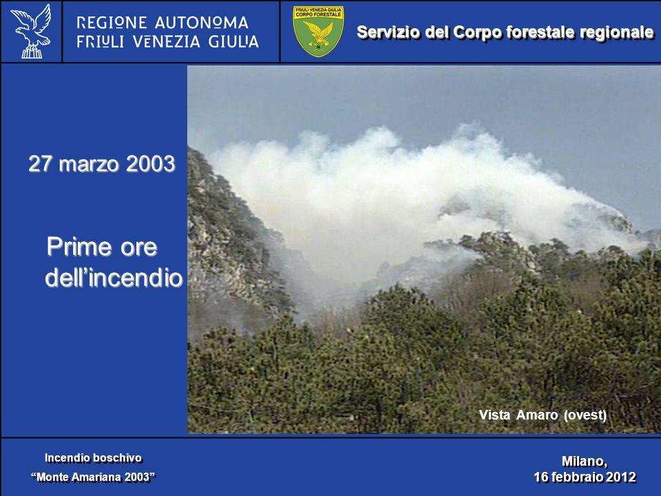 Servizio del Corpo forestale regionale Incendio boschivo Monte Amariana 2003 Incendio boschivo Monte Amariana 2003 Milano, 16 febbraio 2012 Milano, 16 febbraio 2012 27 marzo 2003 Prime ore dell'incendio Vista Amaro (ovest)