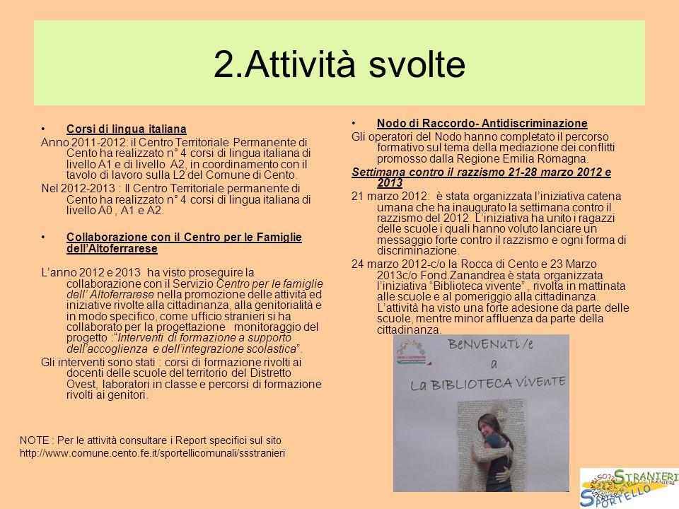 2.Attività svolte Corsi di lingua italiana Anno 2011-2012: il Centro Territoriale Permanente di Cento ha realizzato n° 4 corsi di lingua italiana di l
