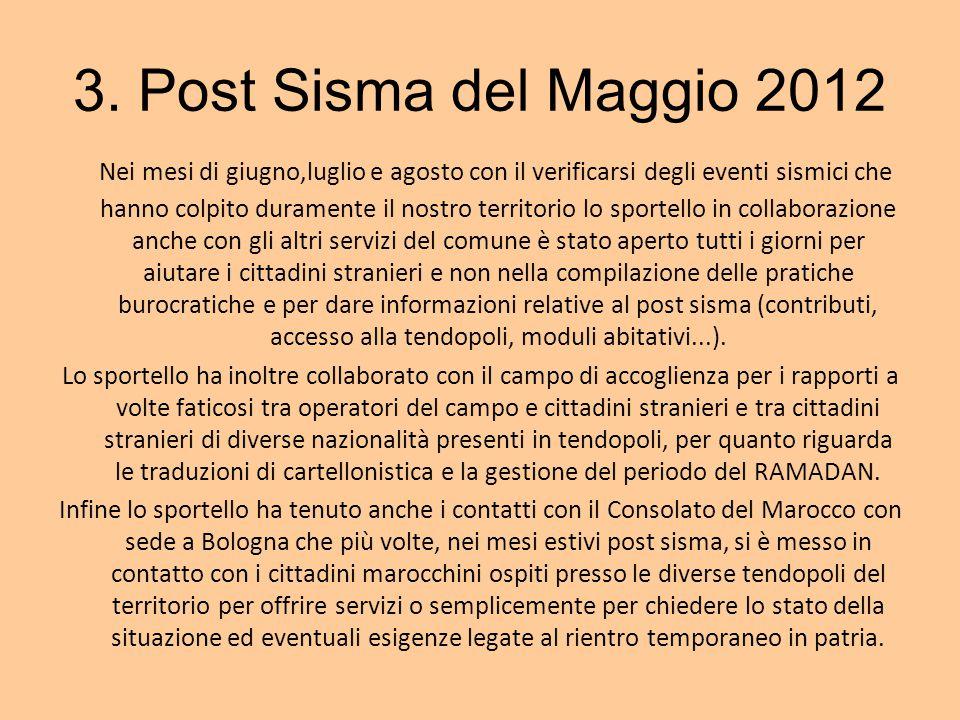 3. Post Sisma del Maggio 2012 Nei mesi di giugno,luglio e agosto con il verificarsi degli eventi sismici che hanno colpito duramente il nostro territo