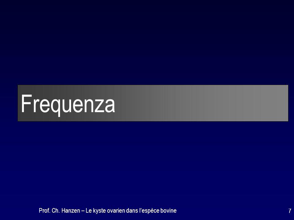 Prof. Ch. Hanzen – Le kyste ovarien dans l'espèce bovine 7 Frequenza
