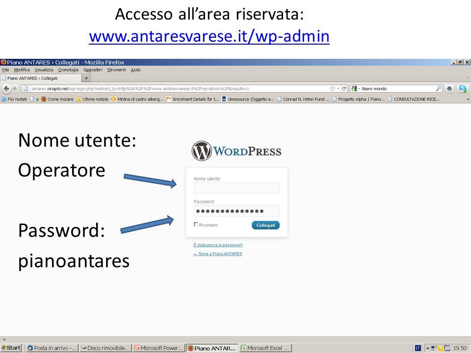 Nome utente: Operatore Password: pianoantares Nome utente: Operatore Password: pianoantares Accesso all'area riservata: www.antaresvarese.it/wp-admin