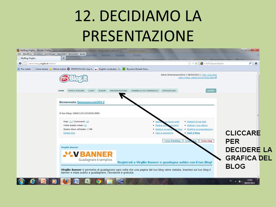 12. DECIDIAMO LA PRESENTAZIONE CLICCARE PER DECIDERE LA GRAFICA DEL BLOG