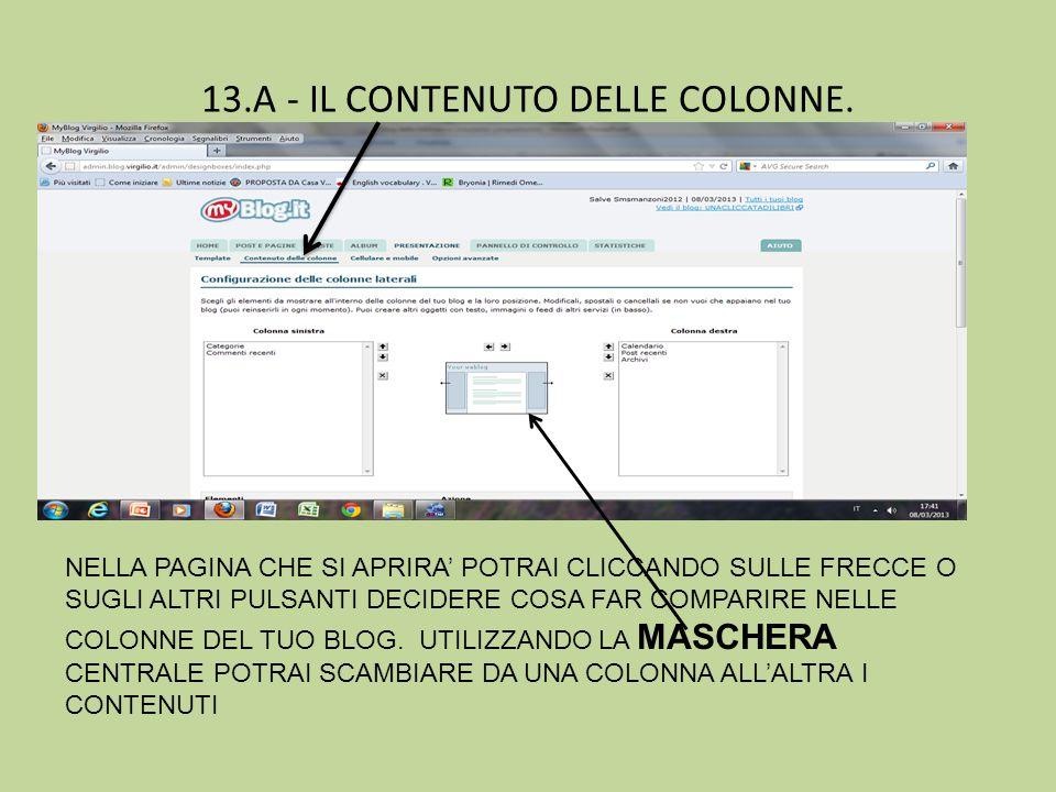 13.A - IL CONTENUTO DELLE COLONNE.