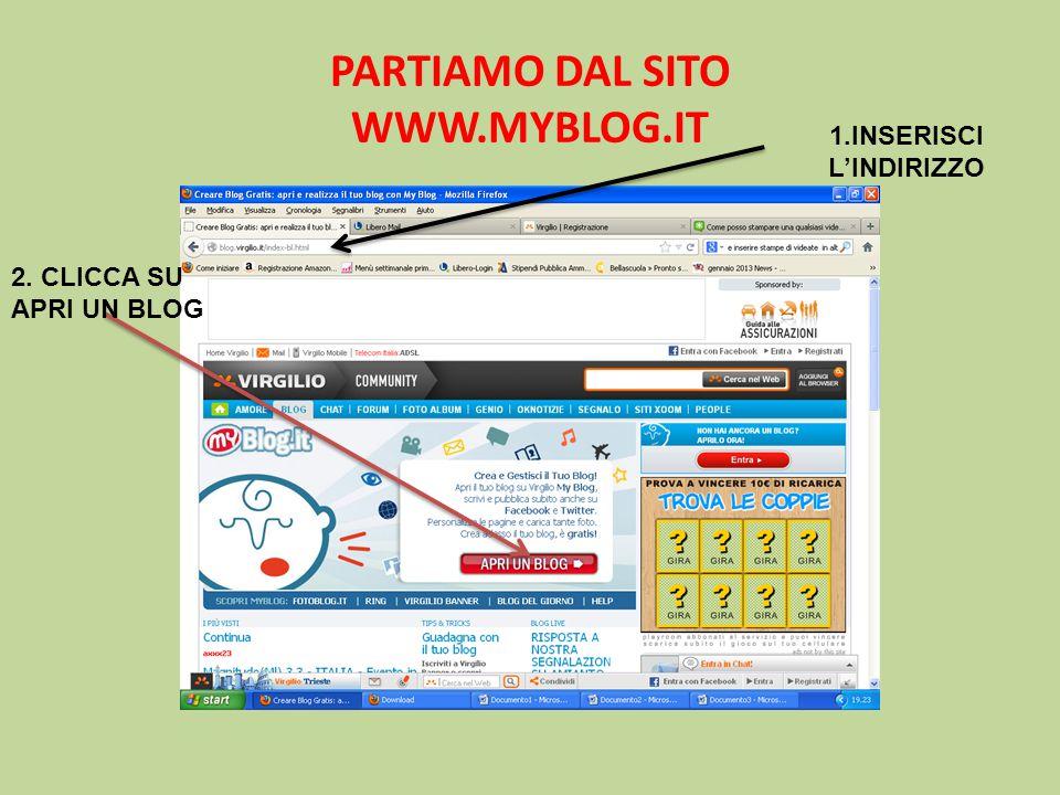 PARTIAMO DAL SITO WWW.MYBLOG.IT 1.INSERISCI L'INDIRIZZO 2. CLICCA SU APRI UN BLOG