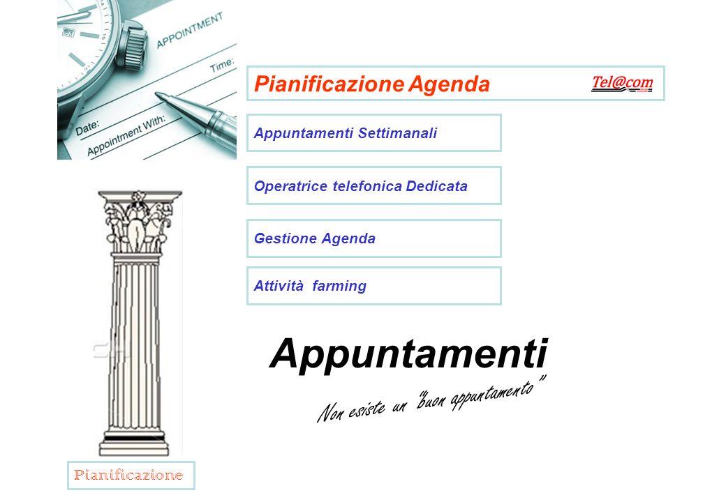 Pianificazione Agenda Appuntamenti Settimanali Operatrice telefonica Dedicata Gestione Agenda Attività farming Appuntamenti Non esiste un buon appuntamento Pianificazione