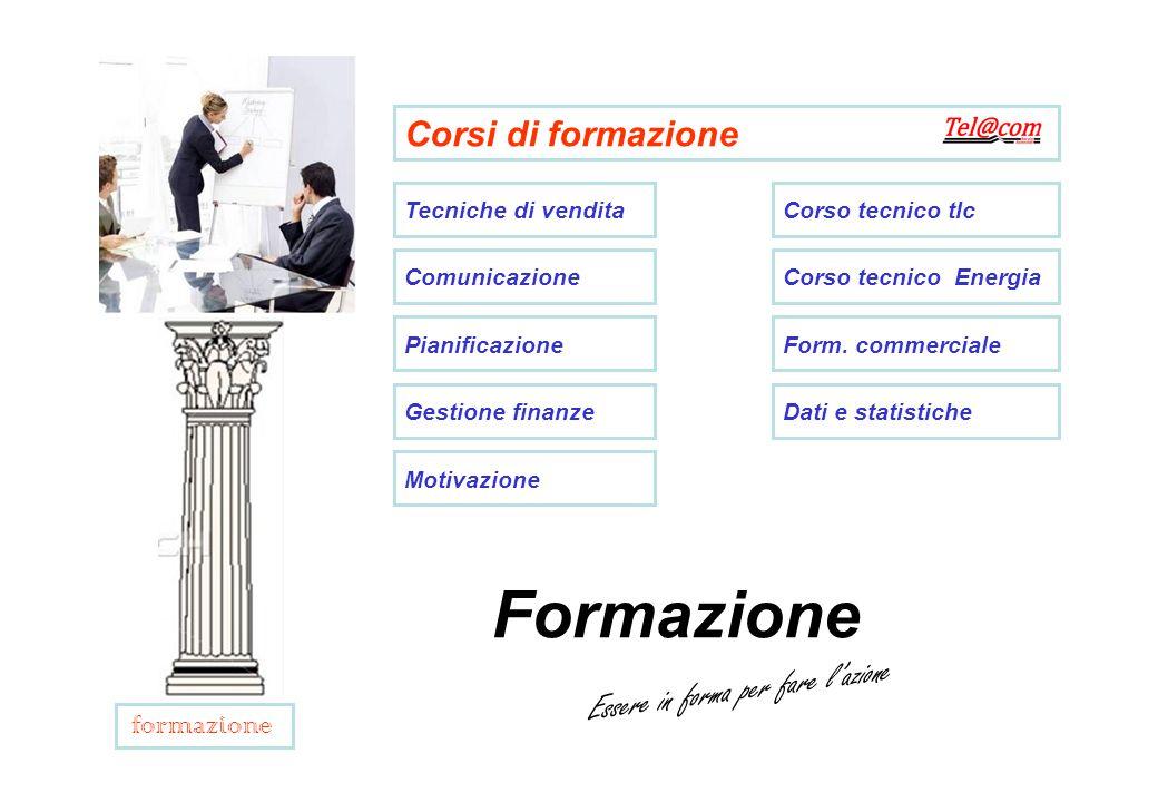 Corsi di formazione Tecniche di vendita Comunicazione Pianificazione Gestione finanze Motivazione Corso tecnico tlc Corso tecnico Energia Form.