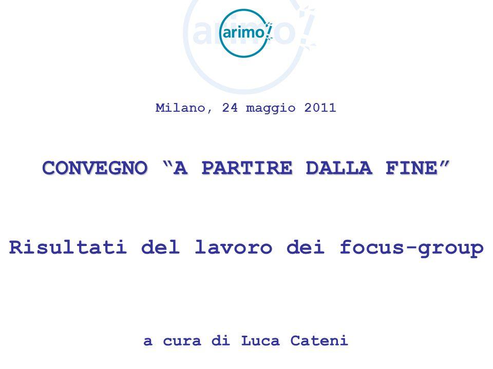 Milano, 24 maggio 2011 CONVEGNO A PARTIRE DALLA FINE Risultati del lavoro dei focus-group a cura di Luca Cateni