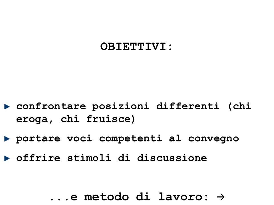 OBIETTIVI: confrontare posizioni differenti (chi eroga, chi fruisce) portare voci competenti al convegno offrire stimoli di discussione...e metodo di lavoro: 