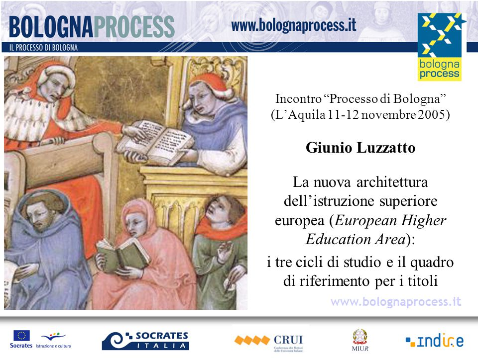 Incontro Processo di Bologna (L'Aquila 11-12 novembre 2005) Giunio Luzzatto La nuova architettura dell'istruzione superiore europea (European Higher Education Area): i tre cicli di studio e il quadro di riferimento per i titoli www.bolognaprocess.i t