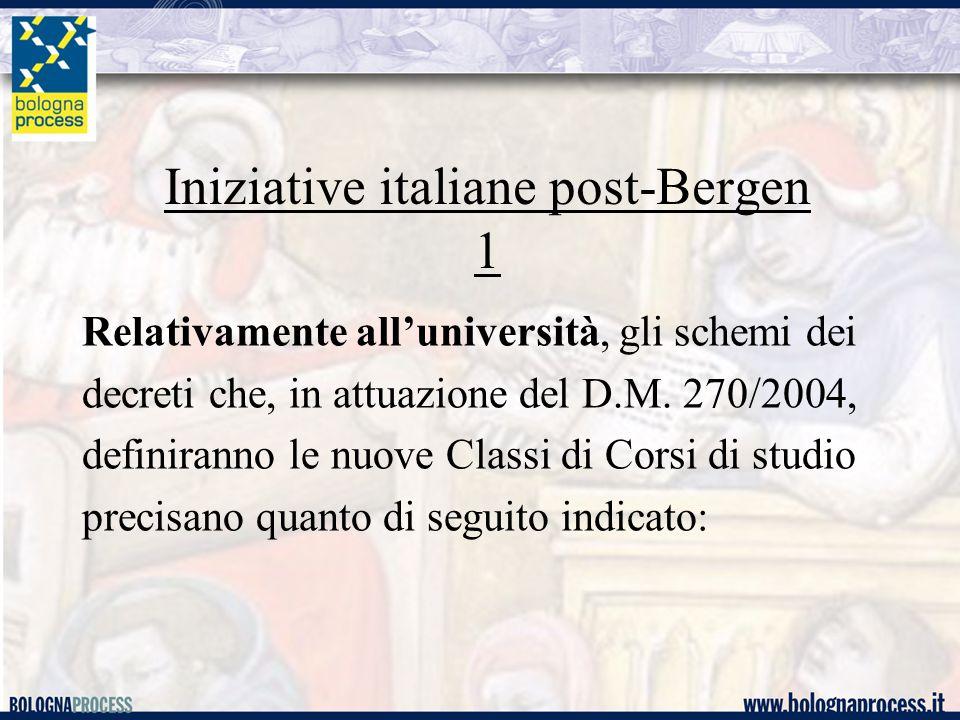 Iniziative italiane post-Bergen 1 Relativamente all'università, gli schemi dei decreti che, in attuazione del D.M. 270/2004, definiranno le nuove Clas