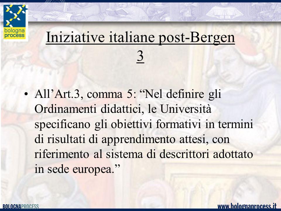 Iniziative italiane post-Bergen 3 All'Art.3, comma 5: Nel definire gli Ordinamenti didattici, le Università specificano gli obiettivi formativi in termini di risultati di apprendimento attesi, con riferimento al sistema di descrittori adottato in sede europea.