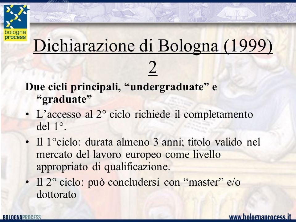"""Dichiarazione di Bologna (1999) 2 Due cicli principali, """"undergraduate"""" e """"graduate"""" L'accesso al 2° ciclo richiede il completamento del 1°. Il 1°cicl"""