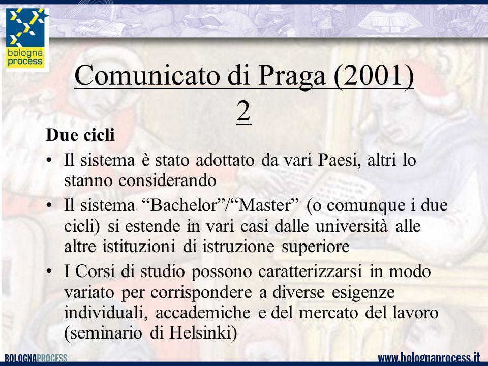 """Comunicato di Praga (2001) 2 Due cicli Il sistema è stato adottato da vari Paesi, altri lo stanno considerando Il sistema """"Bachelor""""/""""Master"""" (o comun"""