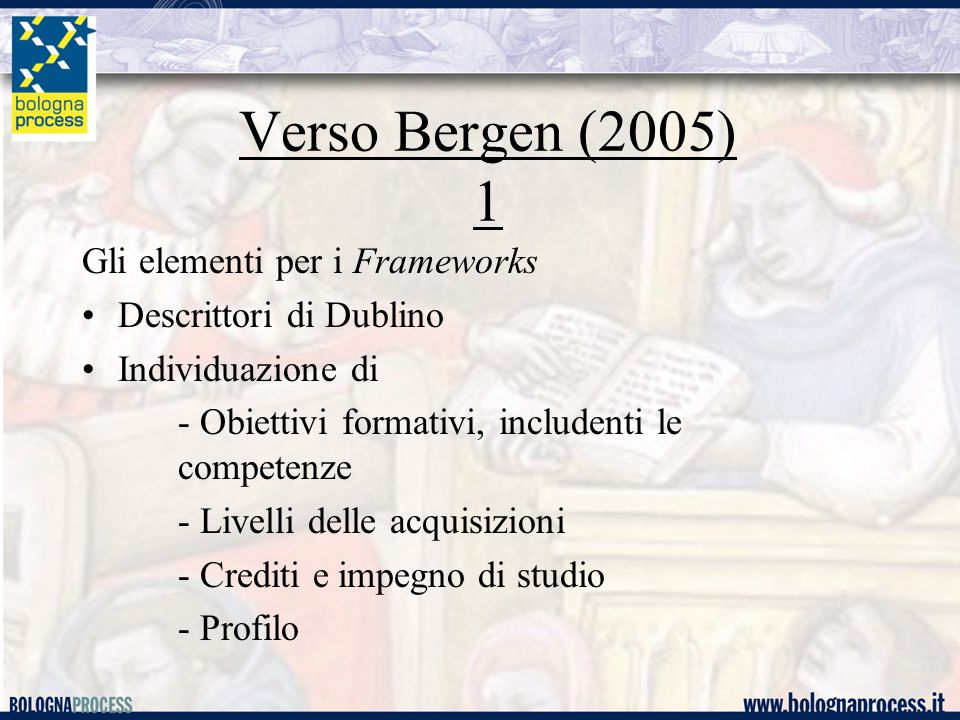 Verso Bergen (2005) 1 Gli elementi per i Frameworks Descrittori di Dublino Individuazione di - Obiettivi formativi, includenti le competenze - Livelli