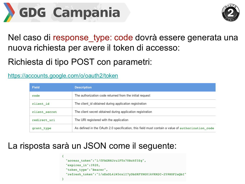 Nel caso di response_type: code dovrà essere generata una nuova richiesta per avere il token di accesso: Richiesta di tipo POST con parametri: https:/
