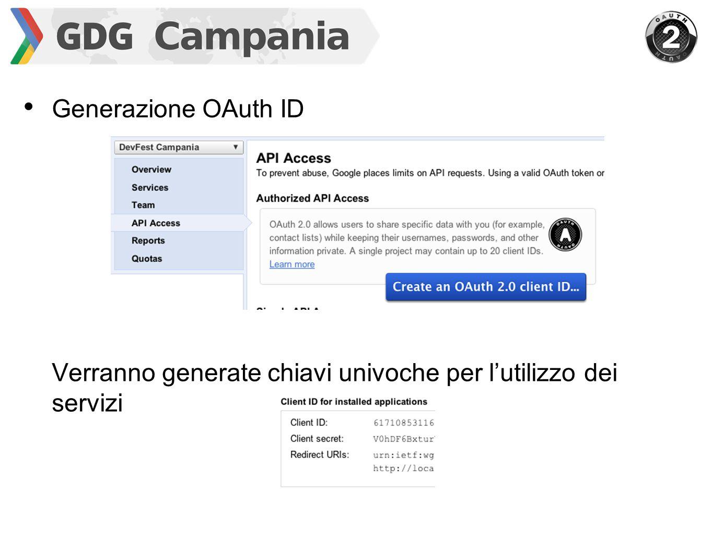 Generazione OAuth ID Verranno generate chiavi univoche per l'utilizzo dei servizi