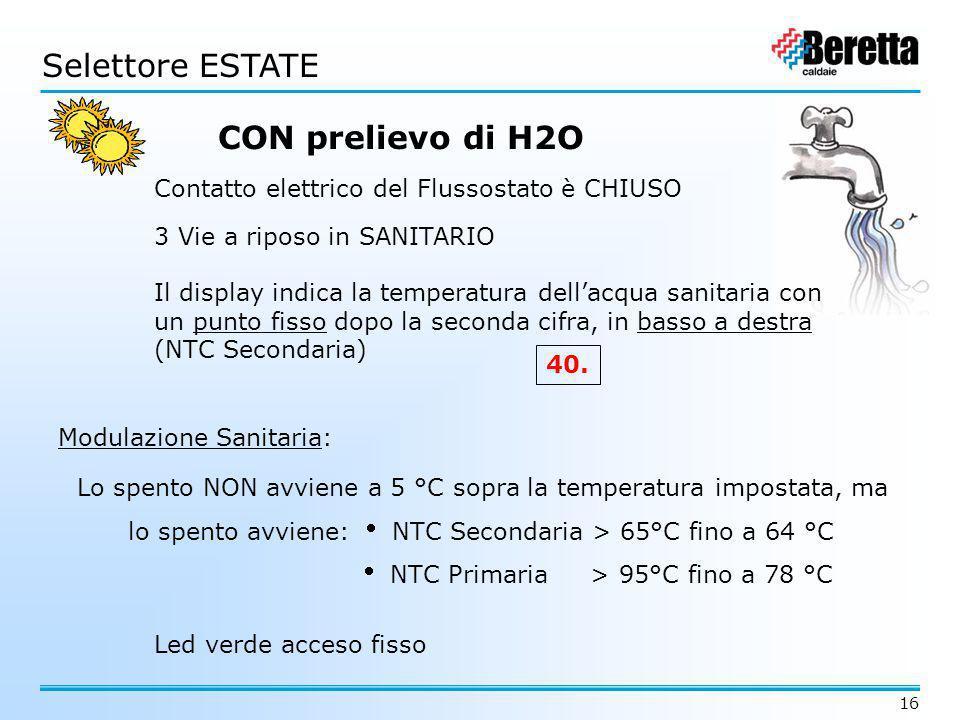 16 CON prelievo di H2O 3 Vie a riposo in SANITARIO Contatto elettrico del Flussostato è CHIUSO Il display indica la temperatura dell'acqua sanitaria c