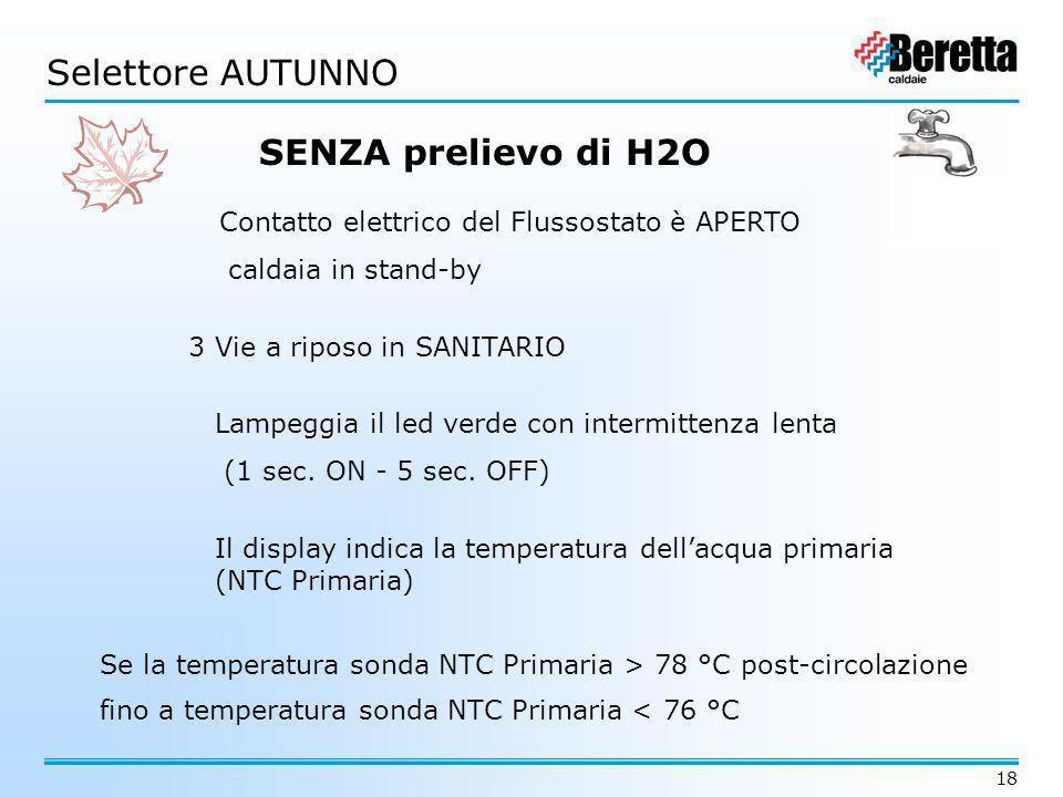 18 3 Vie a riposo in SANITARIO Contatto elettrico del Flussostato è APERTO caldaia in stand-by Lampeggia il led verde con intermittenza lenta (1 sec.