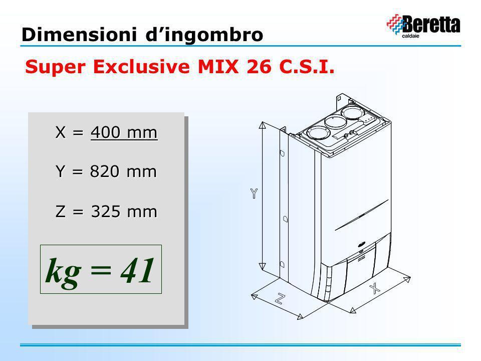 X = 450 mm Y = 820 mm Z = 325 mm X = 450 mm Y = 820 mm Z = 325 mm kg = 43 Dimensioni d'ingombro Super Exclusive MIX 30 C.S.I.