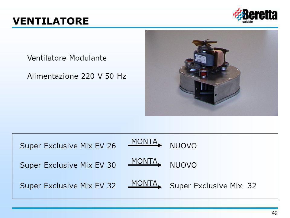 49 VENTILATORE Ventilatore Modulante Alimentazione 220 V 50 Hz Super Exclusive Mix EV 26NUOVO Super Exclusive Mix EV 30 Super Exclusive Mix EV 32Super