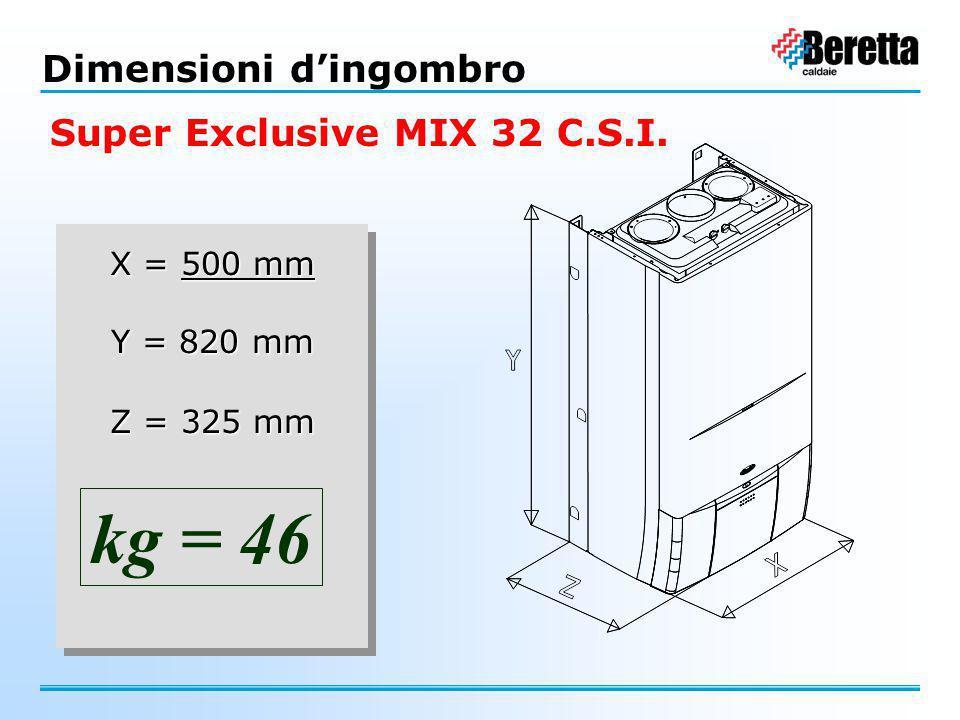 X = 500 mm Y = 820 mm Z = 325 mm X = 500 mm Y = 820 mm Z = 325 mm kg = 46 Dimensioni d'ingombro Super Exclusive MIX 32 C.S.I.