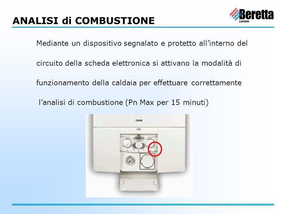 ANALISI di COMBUSTIONE Mediante un dispositivo segnalato e protetto all'interno del circuito della scheda elettronica si attivano la modalità di funzi