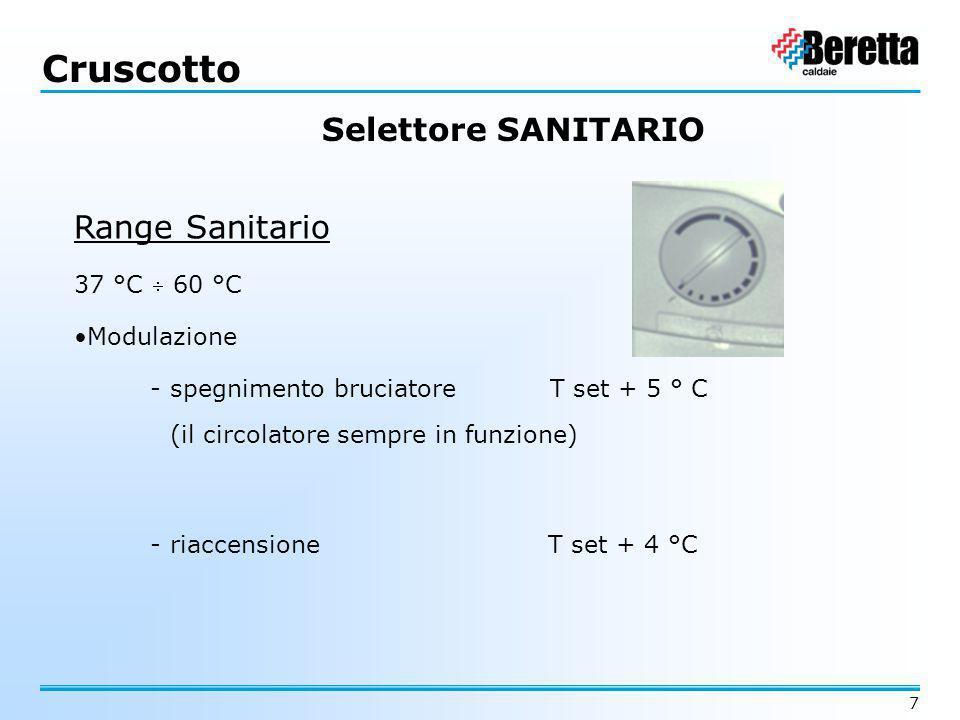 7 Range Sanitario 37 °C  60 °C Modulazione - spegnimento bruciatore T set + 5 ° C - riaccensione T set + 4 °C Cruscotto (il circolatore sempre in fun
