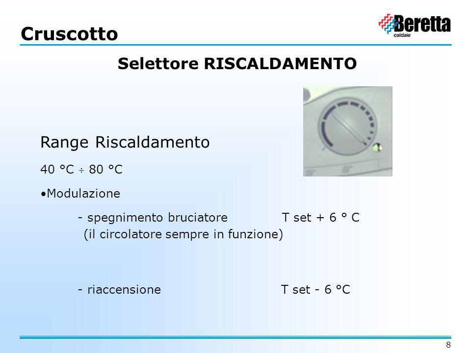 8 Cruscotto Range Riscaldamento 40 °C  80 °C Modulazione - spegnimento bruciatore T set + 6 ° C - riaccensione T set - 6 °C (il circolatore sempre in