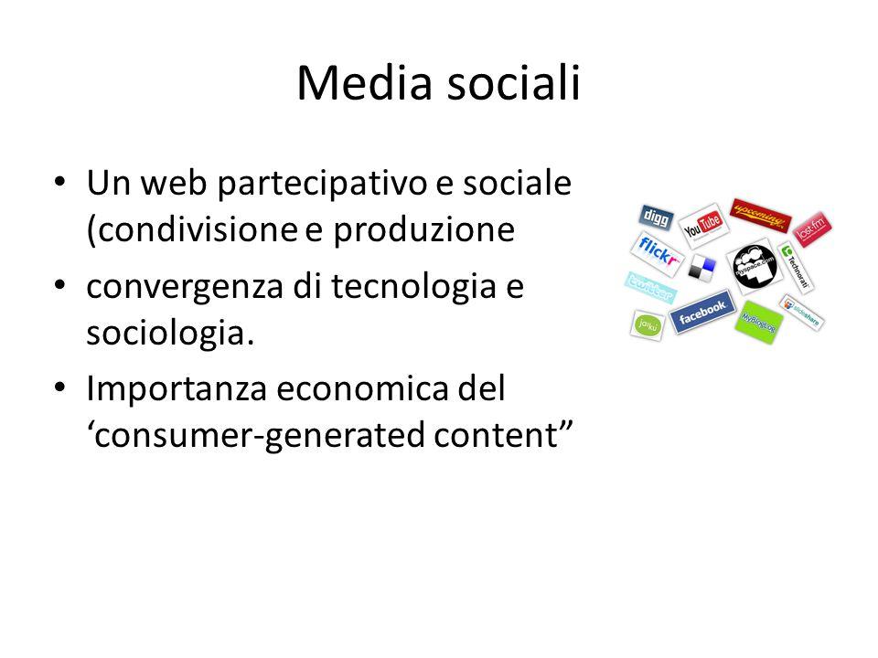Media sociali Un web partecipativo e sociale (condivisione e produzione convergenza di tecnologia e sociologia.