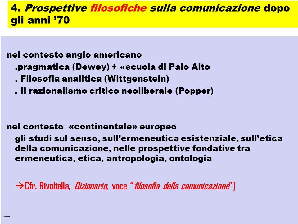 nel contesto anglo americano.pragmatica (Dewey) + «scuola di Palo Alto. Filosofia analitica (Wittgenstein). Il razionalismo critico neoliberale (Poppe