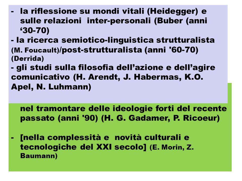 -la ricerca ermeneutica di nuove comprensioni, nel tramontare delle ideologie forti del recente passato (anni '90) (H. G. Gadamer, P. Ricoeur) -[nella