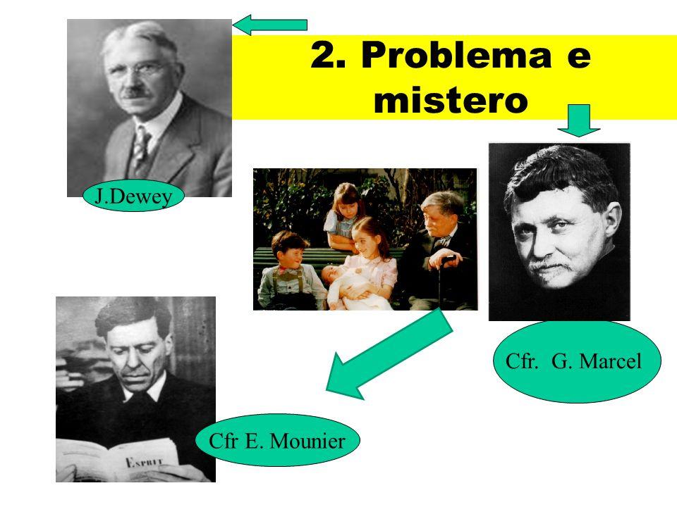 2. Problema e mistero Cfr. G. Marcel Cfr E. Mounier J.Dewey
