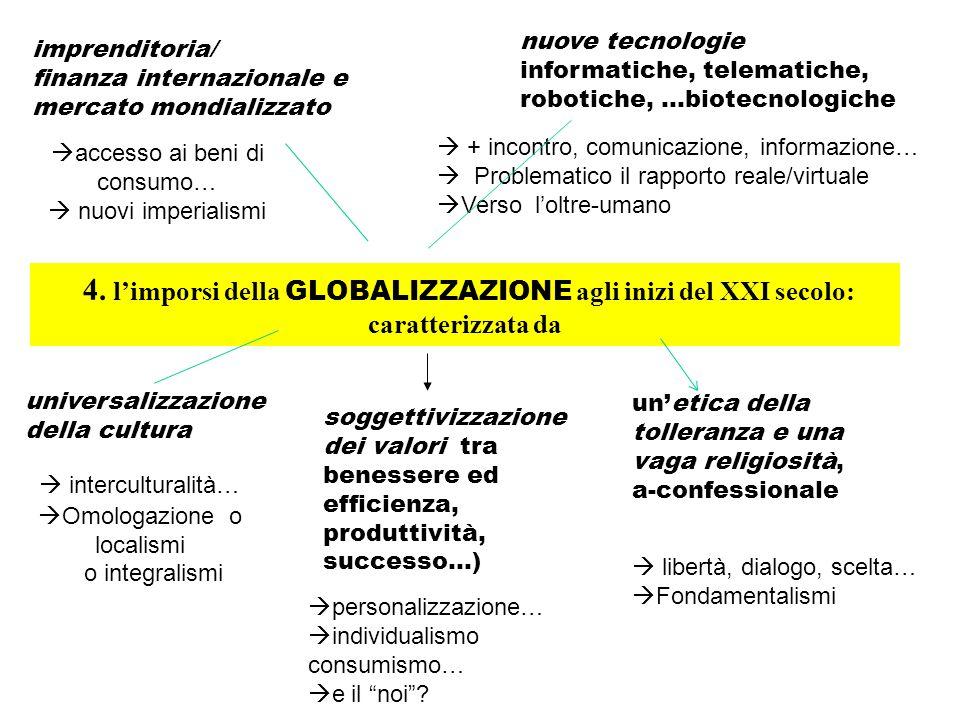 4. l'imporsi della GLOBALIZZAZIONE agli inizi del XXI secolo: caratterizzata da imprenditoria/ finanza internazionale e mercato mondializzato nuove te