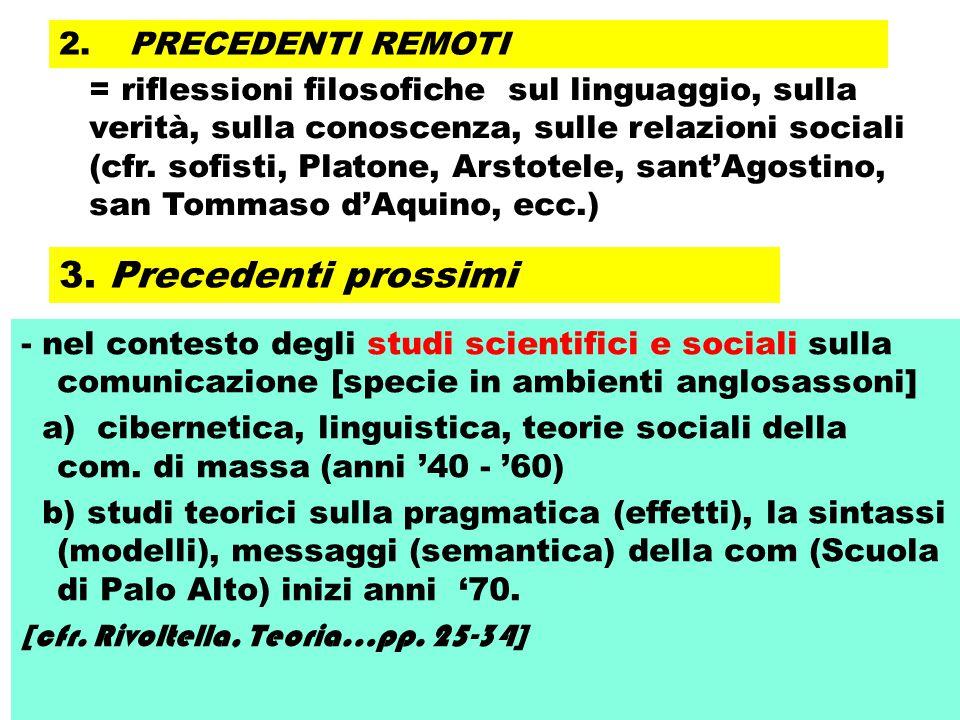 3. Precedenti prossimi - nel contesto degli studi scientifici e sociali sulla comunicazione [specie in ambienti anglosassoni] a) cibernetica, linguist