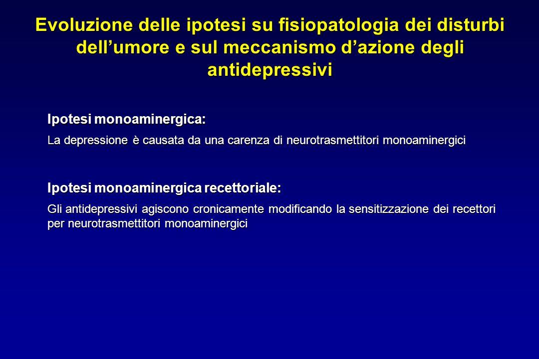 Evoluzione delle ipotesi su fisiopatologia dei disturbi dell'umore e sul meccanismo d'azione degli antidepressivi Ipotesi monoaminergica: La depressio