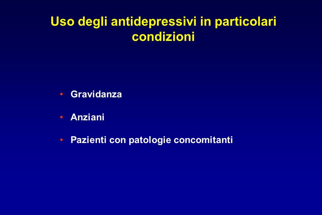 Uso degli antidepressivi in particolari condizioni Gravidanza Anziani Pazienti con patologie concomitanti