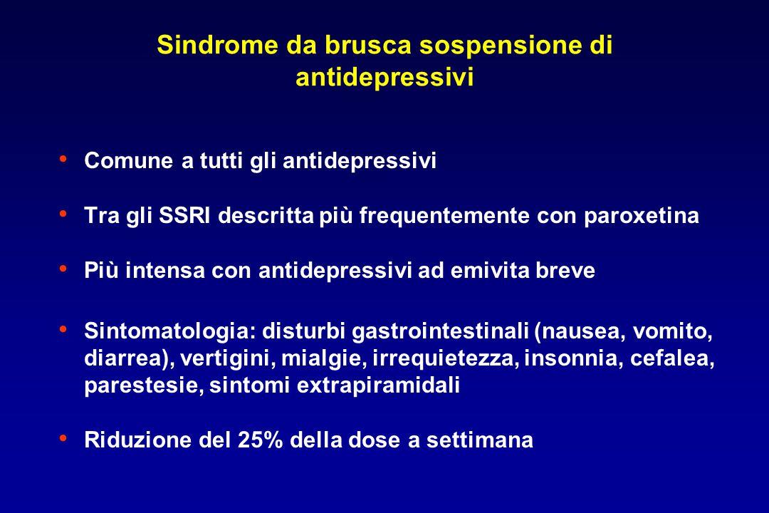 Sindrome da brusca sospensione di antidepressivi Comune a tutti gli antidepressivi Tra gli SSRI descritta più frequentemente con paroxetina Più intens