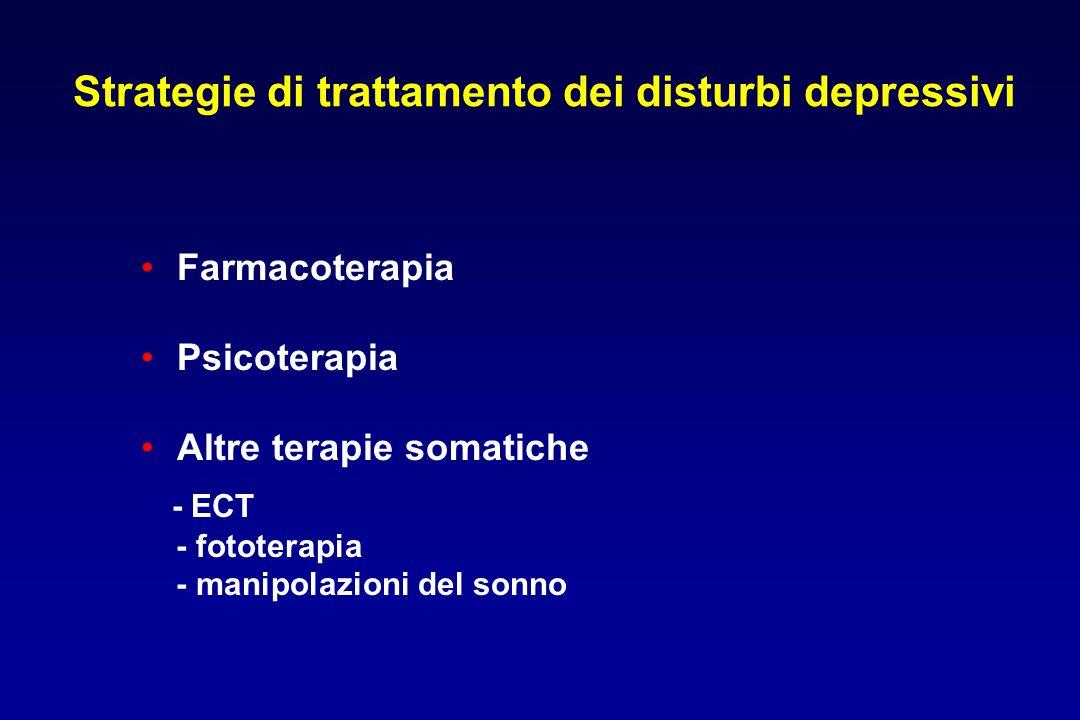 Strategie di trattamento dei disturbi depressivi Farmacoterapia Psicoterapia Altre terapie somatiche - ECT - fototerapia - manipolazioni del sonno