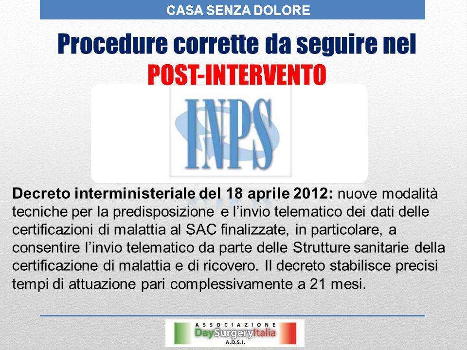 Procedure corrette da seguire nel POST-INTERVENTO Decreto interministeriale del 18 aprile 2012: nuove modalità tecniche per la predisposizione e l'inv