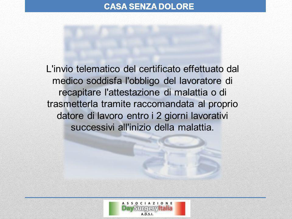 CASA SENZA DOLORE L'invio telematico del certificato effettuato dal medico soddisfa l'obbligo del lavoratore di recapitare l'attestazione di malattia