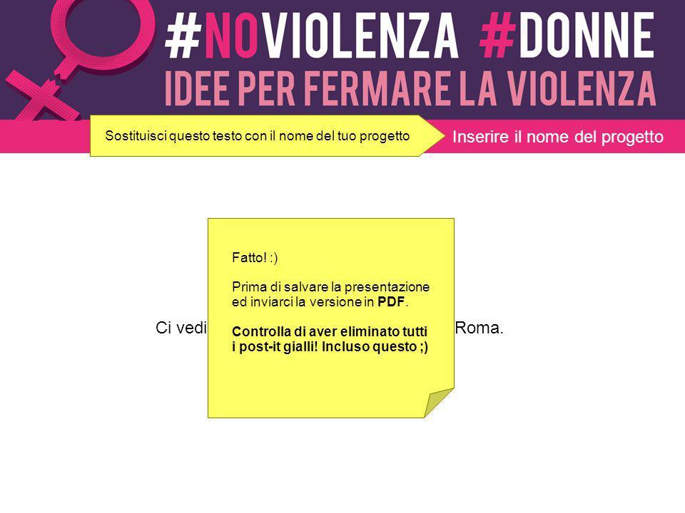 Inserire il nome del progetto É tutto. Ci vediamo al convegno il 24 maggio a Roma. Fatto! :) Prima di salvare la presentazione ed inviarci la versione