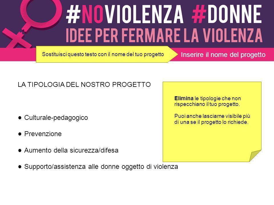 LA TIPOLOGIA DEL NOSTRO PROGETTO ● Culturale-pedagogico ● Prevenzione ● Aumento della sicurezza/difesa ● Supporto/assistenza alle donne oggetto di vio