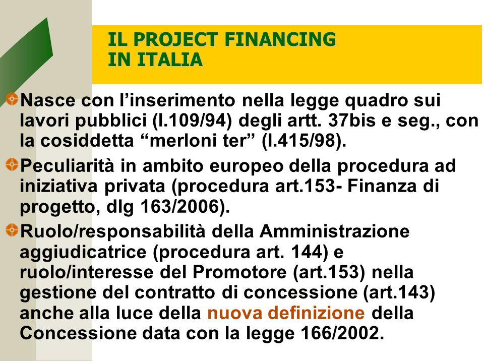 IL PROJECT FINANCING IN ITALIA Nasce con l'inserimento nella legge quadro sui lavori pubblici (l.109/94) degli artt.