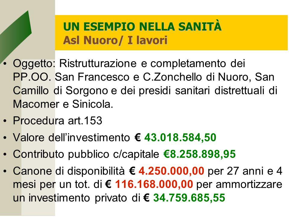 UN ESEMPIO NELLA SANITÀ Asl Nuoro/ I lavori Oggetto: Ristrutturazione e completamento dei PP.OO.