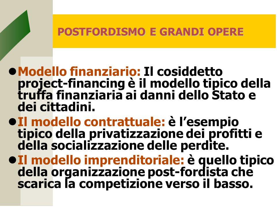 POSTFORDISMO E GRANDI OPERE Modello finanziario: Il cosiddetto project-financing è il modello tipico della truffa finanziaria ai danni dello Stato e dei cittadini.