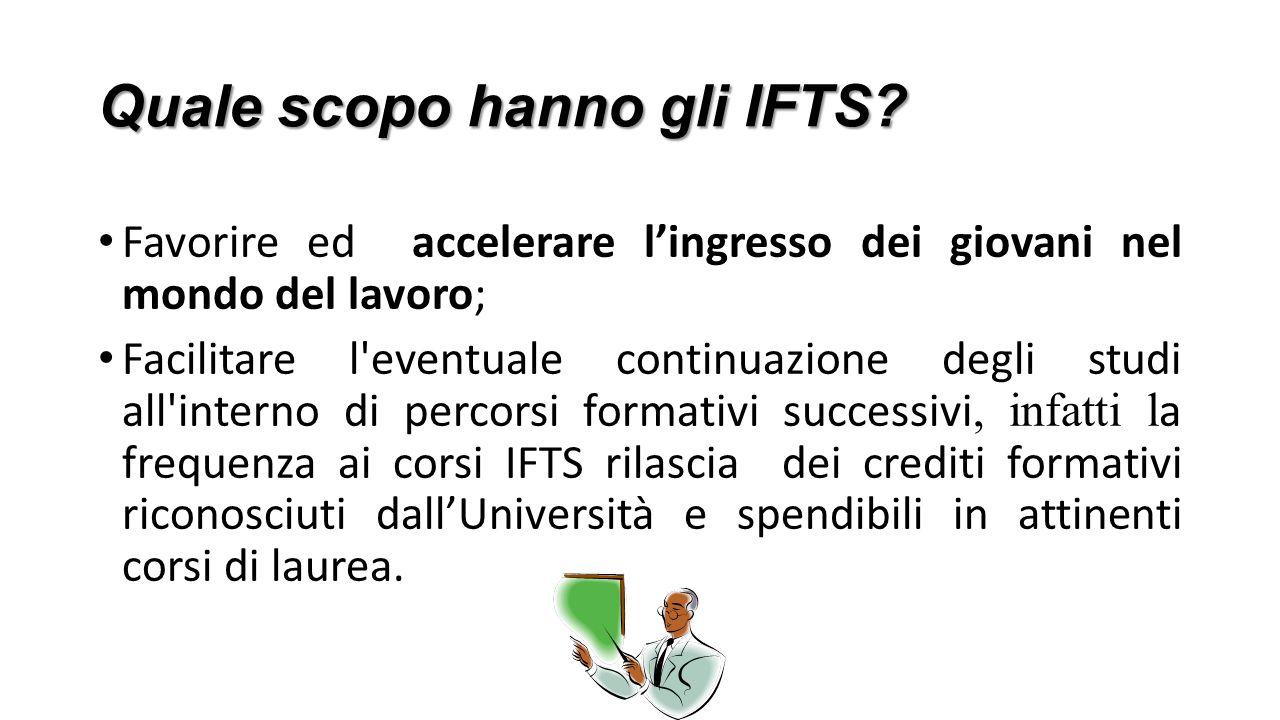 Quale scopo hanno gli IFTS? Favorire ed accelerare l'ingresso dei giovani nel mondo del lavoro; Facilitare l'eventuale continuazione degli studi all'i