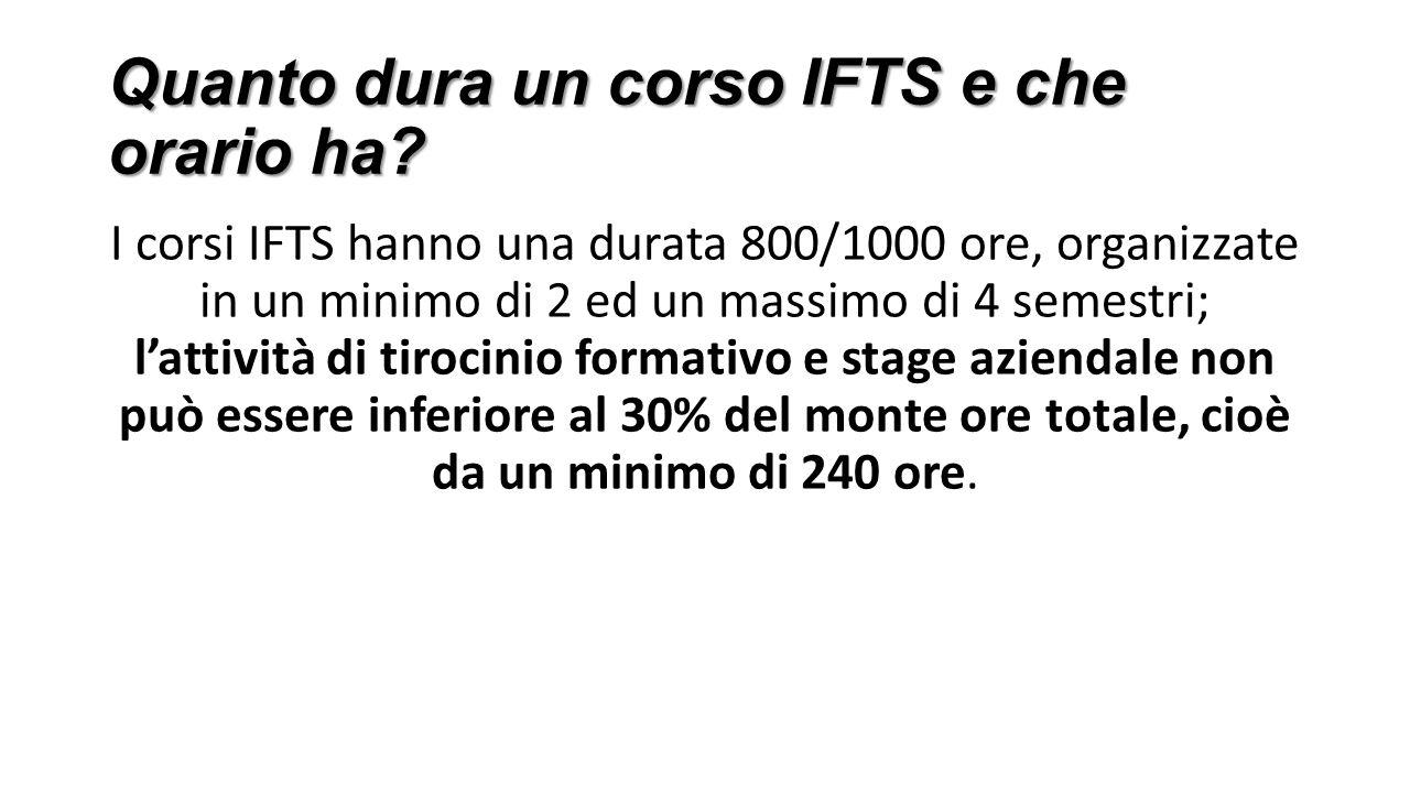 Quanto dura un corso IFTS e che orario ha? Quanto dura un corso IFTS e che orario ha? I corsi IFTS hanno una durata 800/1000 ore, organizzate in un mi